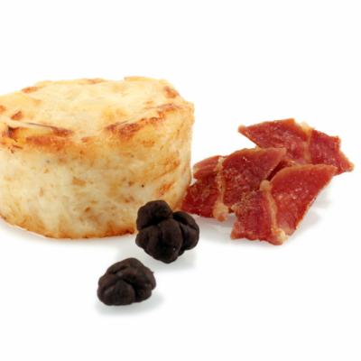 Gratén de patatas, jamon y trufa negra